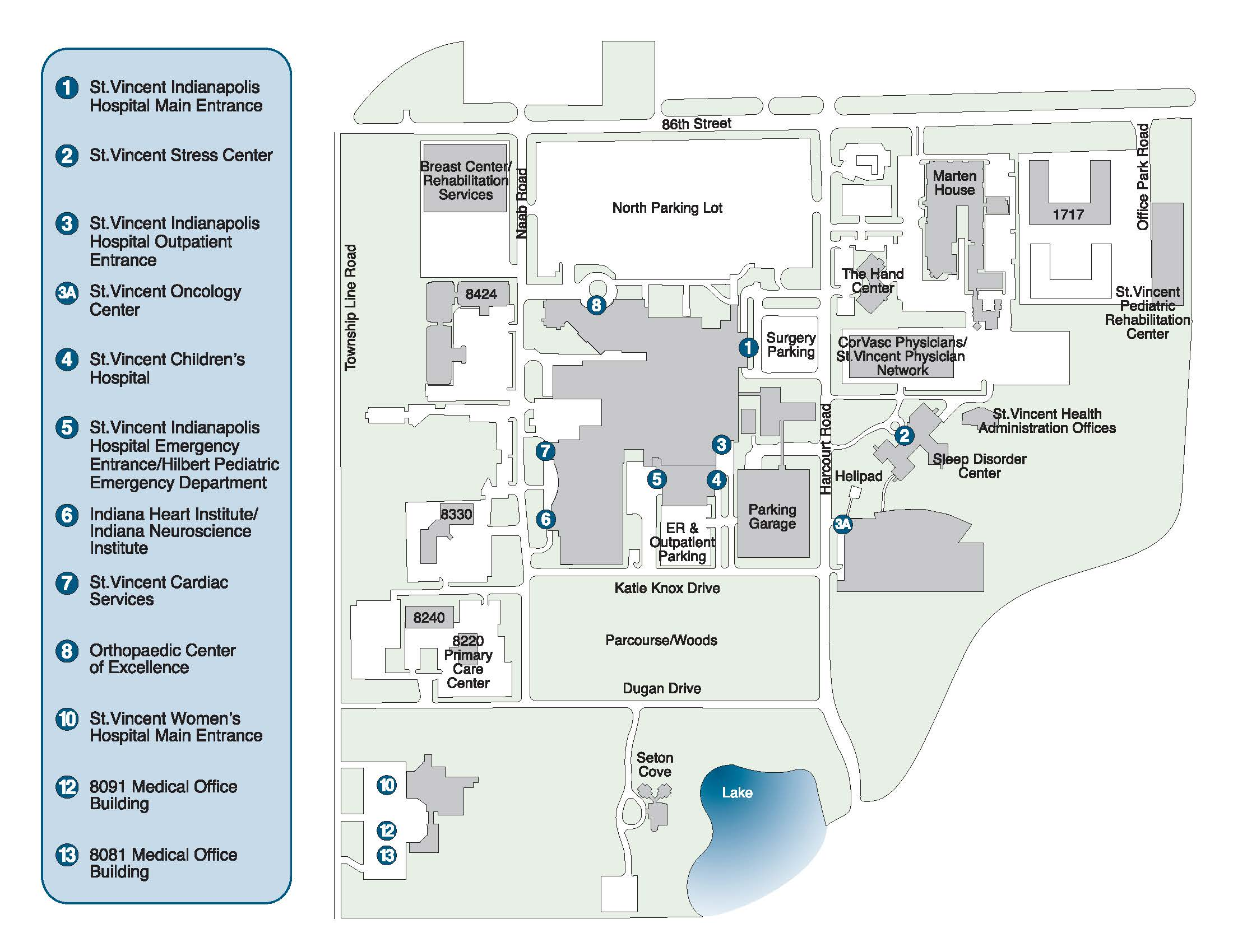 Mercy Hospital Campus Map.Contact Us