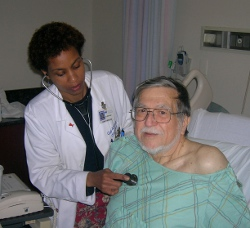 Elderly patient receiving an examination