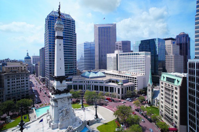Aerial view of Monument Circle in downtown Indianapolis